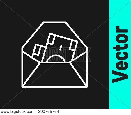 White Line Envelope With Coin Dollar Symbol Icon Isolated On Black Background. Salary Increase, Mone