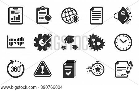 Medical Mask, Time And File Icons Simple Set. Column Diagram, Timer And 360 Degrees Signs. Signing D