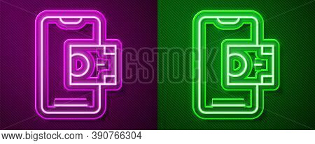 Glowing Neon Line Mobile Banking Icon Isolated On Purple And Green Background. Transfer Money Throug