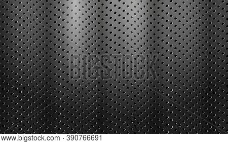 Dark Technology Background. Black Perforated Metal With Waves Texture. Abstract Corporate Background