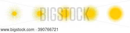 Sun. Sun Vector Icons Collection. Sun Rays Yellow, Isolated. Vector Illustration