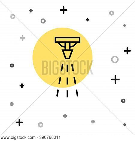 Black Line Fire Sprinkler System Icon Isolated On White Background. Sprinkler, Fire Extinguisher Sol