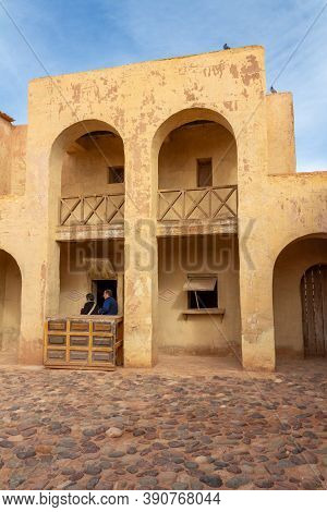 Ouarzazate, Morocco  - November 02, 2018: People In The Cinema Museum, Located At The Opposite Side