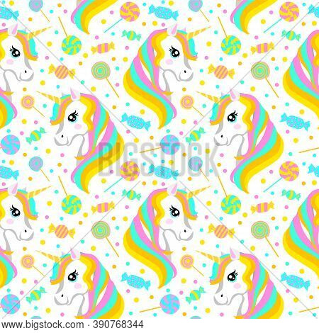 Cute Wallpaper With Rainbow Unicorn And Candy. Seamless Pattern. Vector Illustration