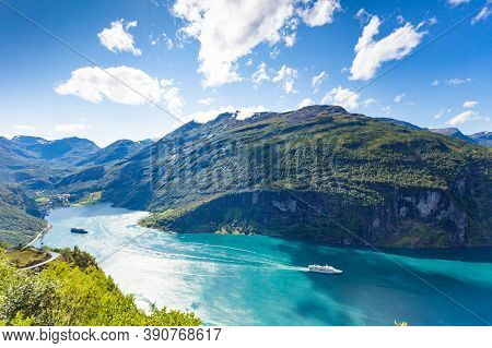 Fjord Geirangerfjord With Cruise Ships, Norway. Travel Cruising.