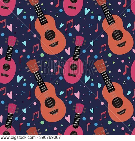 Seamless Pattern With Flat Ukuleles With Musical Notes And Hearts On Dark Violet Background. Love Mu