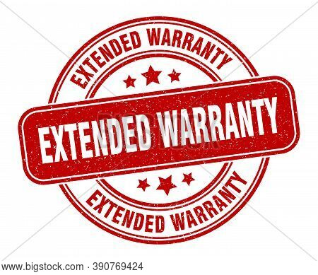 Extended Warranty Stamp. Extended Warranty Label. Round Grunge Sign