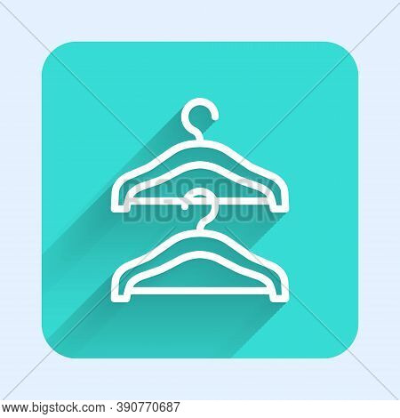 White Line Hanger Wardrobe Icon Isolated With Long Shadow. Cloakroom Icon. Clothes Service Symbol. L