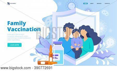 Flat Vector Illustration For Website, Landing Page, Banner, Hero Image. Modern Stylish Family Vaccin