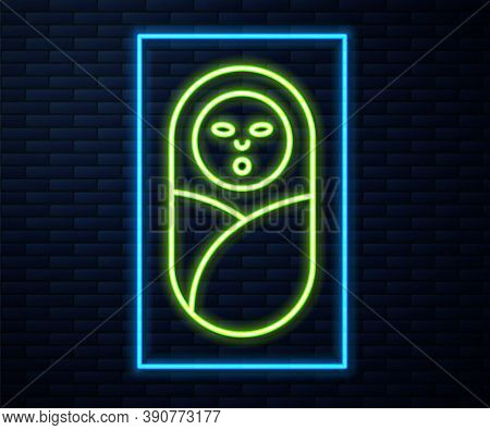 Glowing Neon Line Newborn Baby Infant Swaddled Or Swaddling Icon Isolated On Brick Wall Background.