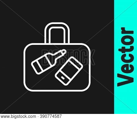 White Line Suitcase For Travel Icon Isolated On Black Background. Traveling Baggage Sign. Travel Lug