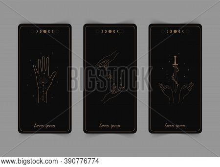 Magical Tarot Cards. The Reverse Side. Magic And Esoteric. Tarot Vector Illustration In Boho Style W