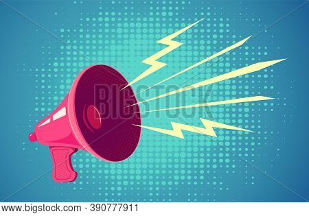 Vector Vintage Poster With Retro Pink Megaphone On Blue Background. Retro Megaphone On Halftone Back