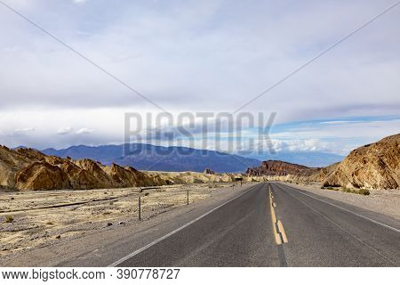 Road To Famous Zabriskie Point In The Death Valley