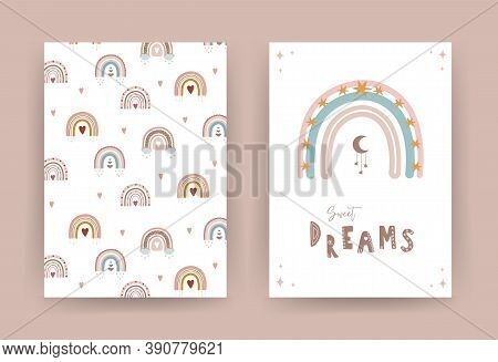 Trendy Rainbow In Boho Style In Different Color. Sweet Dreams. Children Illustrations For Poster Or