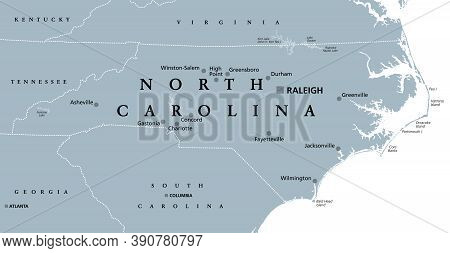 North Carolina, Nc, Gray Political Map. With Capital Raleigh And Largest Cities. State In The Southe