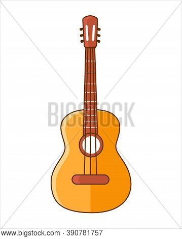 Classical Guitar. Acoustic Guitar.  Silhouette. Stringed Musical Instrument. Flat Vector Cartoon Sty