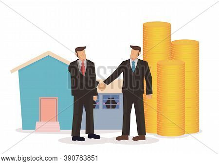 Business Loan From A Property Owner. Finance Loan Concept. Vector Illustration.