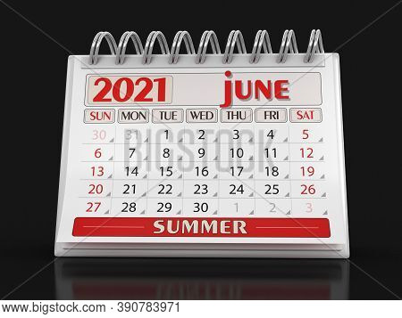 3d Illustration. Calendar -  June 2021  (clipping Path Included)