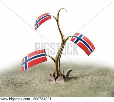 3d Illustration. 3d Sprout With Norwegian Flag On White