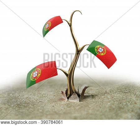 3d Illustration. 3d Sprout With Portuguese Flag On White