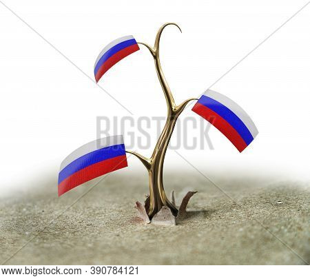 3d Illustration. 3d Sprout With Russian Flag On White