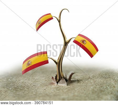 3d Illustration. 3d Sprout With Spanish Flag On White