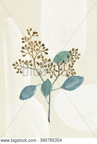 Green Twig Leaves, Golden Berries, Beige Paper Grain Background. White Paint Spots, Stains. Abstract