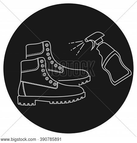 Disinfection Of Shoes, Outline Icon. Shoe Disinfection With Alcohol Spray. Sterile Feet Surface. Edi