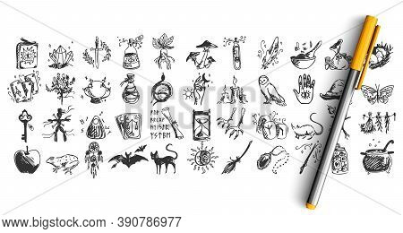 Halloween Doodle Set. Collection Of Hand Drawn Pencil Sketches Templates Patterns Of Bats Pumpkins O