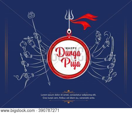 Happy Durga Puja Festival Background With Goddess Durga Hands, Trident And Stylish Text For Hindu Re