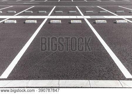 Empty Car Parking, Car Parking Lot With White Mark, Parking Lane Outdoor In Public Park