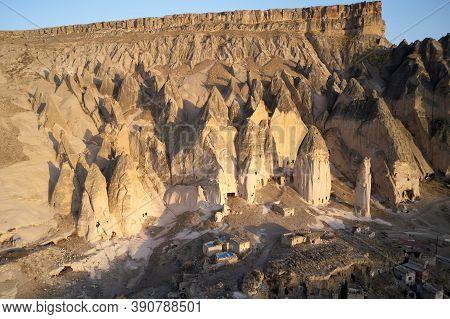 Archeology Background Of An Ancient Cappadocia Town. Cave Dwellings In Stone Formations. Rural Cappa