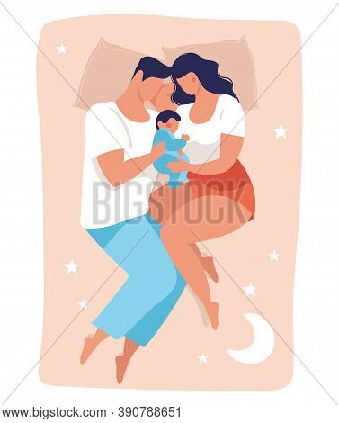 A Young Family Sleeps With A Child. Daddy And Mommy Are Sleeping On The Bed Hugging The Baby. Flat V