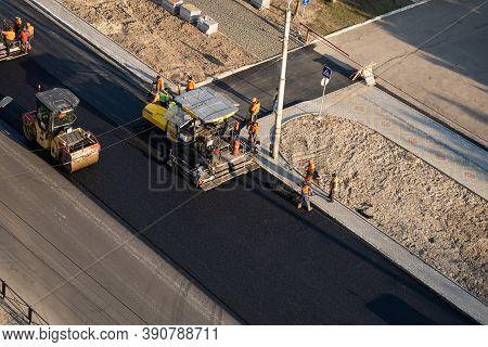 Kyiv, Ukraine - September 10, 2020: Heavy Asphalt Road Roller With Heavy Vibration Roller Compactor