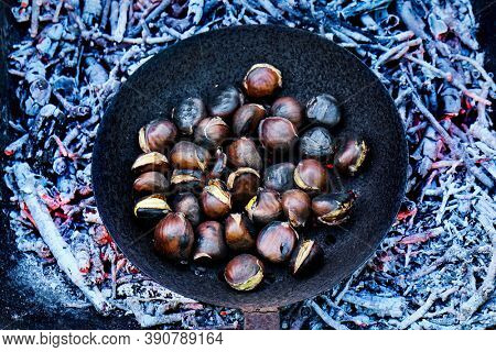 high angle veiw of some chestnuts being roasted in a skillet with holes on a woodfire, in Catalonia, Spain, where is a tradition to eat roasted chestnuts on All Saints Day in a feast called Castanada
