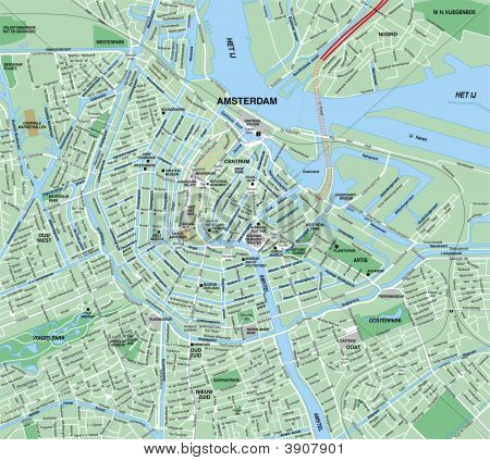 Downtown Amsterdam, Holland Map