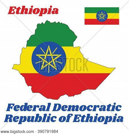 Map Outline And Flag Of Ethiopia, A Horizontal Tricolor Of Green, Yellow And Red With The National E