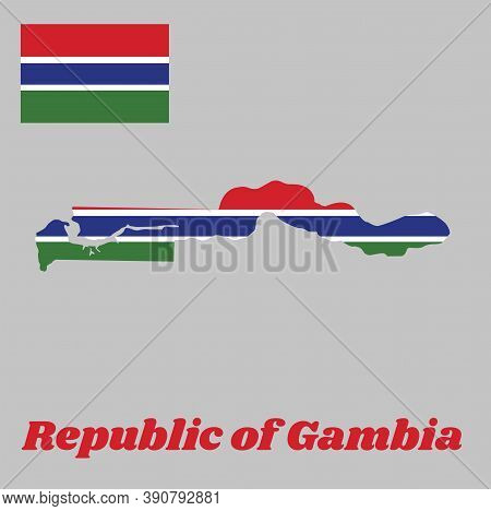 Map Outline And Flag Of Gambia, A Horizontal Tricolor Of Red, Blue And Green; Each Band Of Colour Is