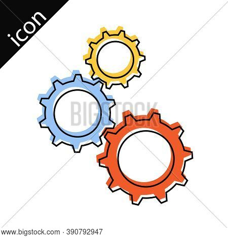 Gear Lines Of Mechanism. Mechanism Gear Icon With Border Lines. Vector Illustration. Vector.