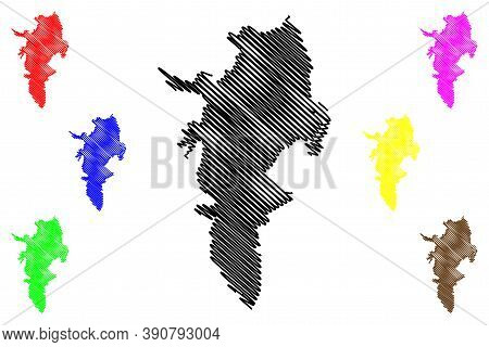 Cali City (republic Of Colombia, Valle Del Cauca Department) Map Vector Illustration, Scribble Sketc