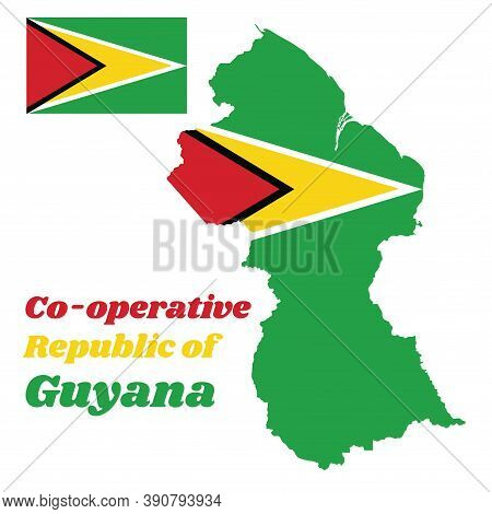 Map Outline Of Guyana, A Green Field With The Black Red Triangle And White Golden Triangle, Also Bas