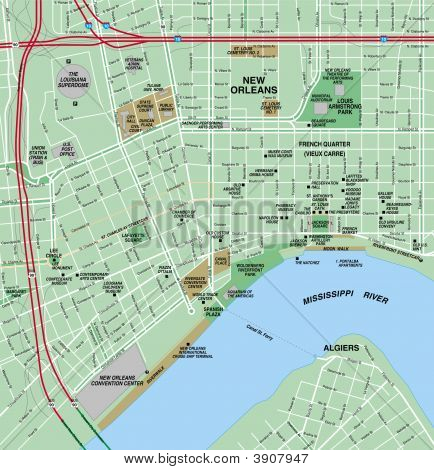 New Orleans, Louisiana Downtown Local Street Map