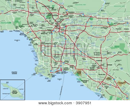 Los Angeles metropolitan Area Karte