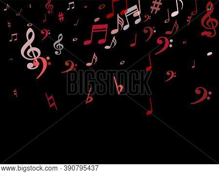 Pink Flying Musical Notes Isolated On Black Background. Fresh Musical Notation Symphony Signs, Notes
