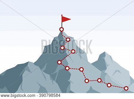 Mountain Climbing Route To Peak. Hiking Trip To The Top Of The Mountain Journey Path. Route Challeng