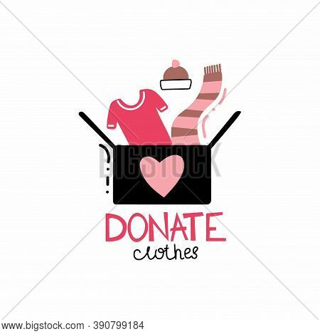 Donate Clothes. Cardboard Box With T-shirt And Winter Clothes, Volunteering And Support Poor People,
