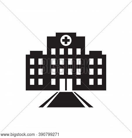 Hospital Building Icon Design.  Mediack Centre Build House Sign. Paramedic Urban Clinic. Vector Illu