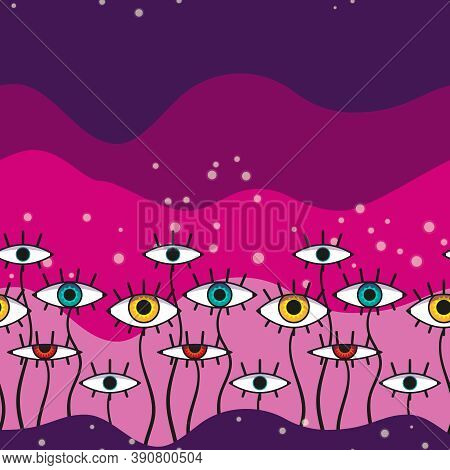 Abstract Eye-plant Seamless Pattern. Pink And Violet Background Pattern.