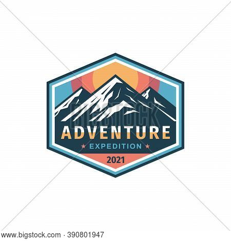 Adventure Expedition Mountain Badge Design. Extreme Traveling Logo In Flat Vintage Style. Hiking Cli